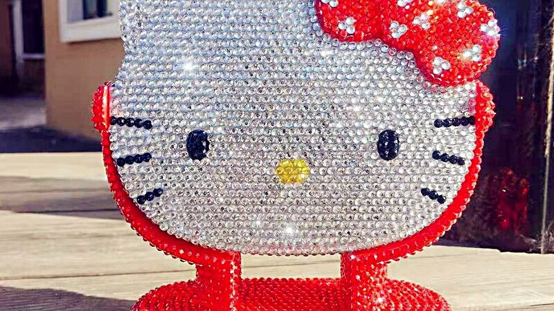Red Hello Kitty Rhinestone Mirror