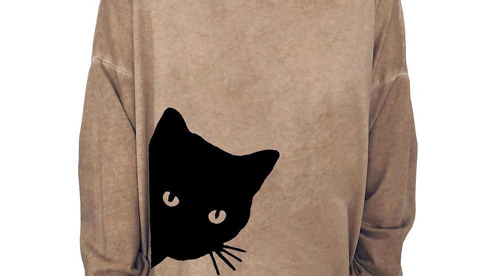 Oversized Cat Print Top