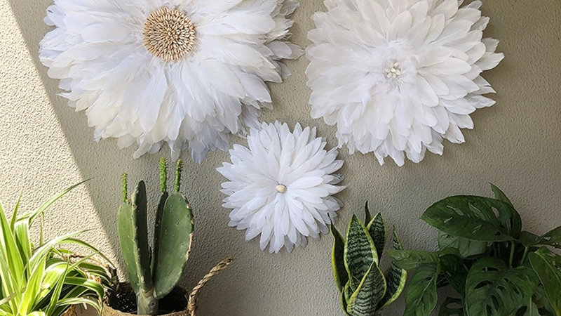 Feather Flower Wall Decorations