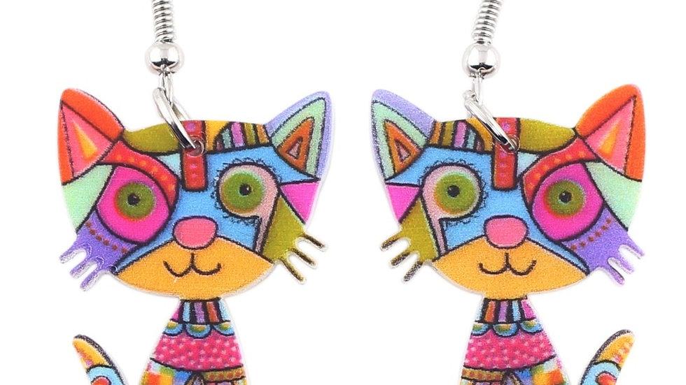 Colourful Acrylic Kitty Earrings