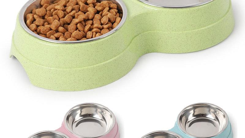 Coloured Double Pet Bowls