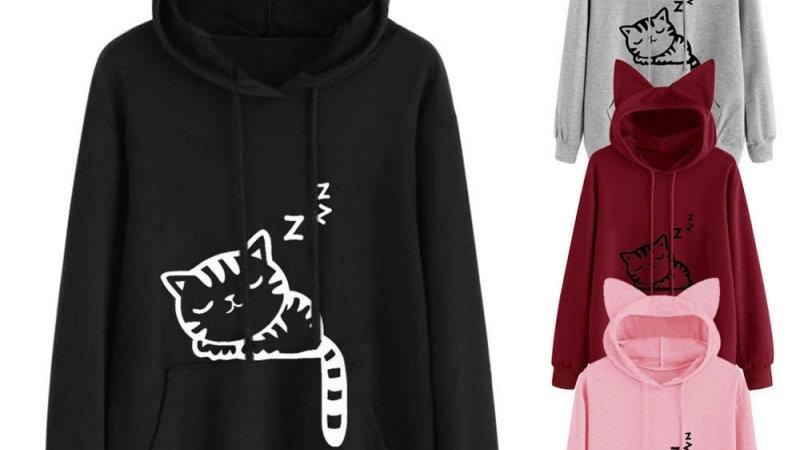 Cat Printed Long Sleeve Hoodies