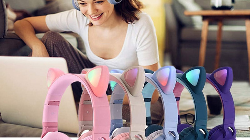 Kids Cat Ear Bluetooth Headphones