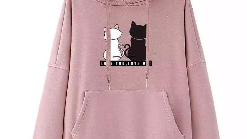 Cute Cat Print Hoodie