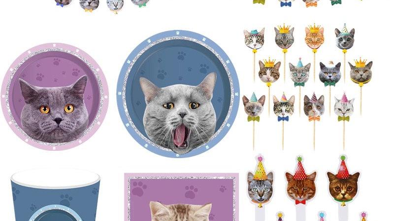 Pet Cat Disposable Tableware Party Decor Supplies