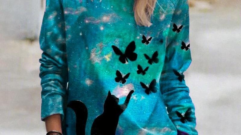 3D Print Women Hoodies Space Galaxy Cat Print Round Neck Long Sleeve Sweatshirt