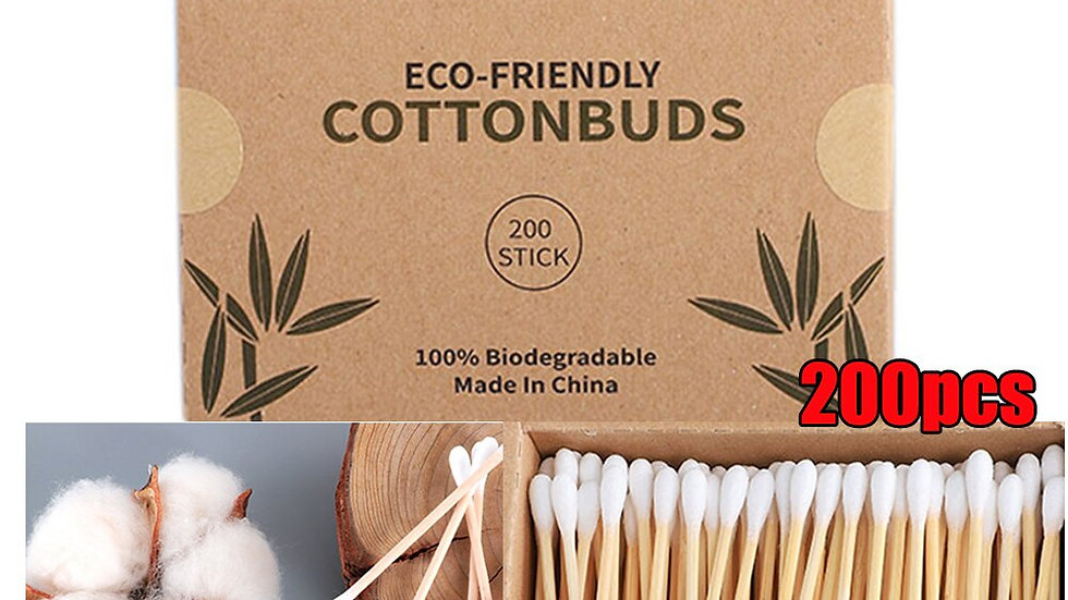200 per Box Double Head Bamboo Cotton Swabs