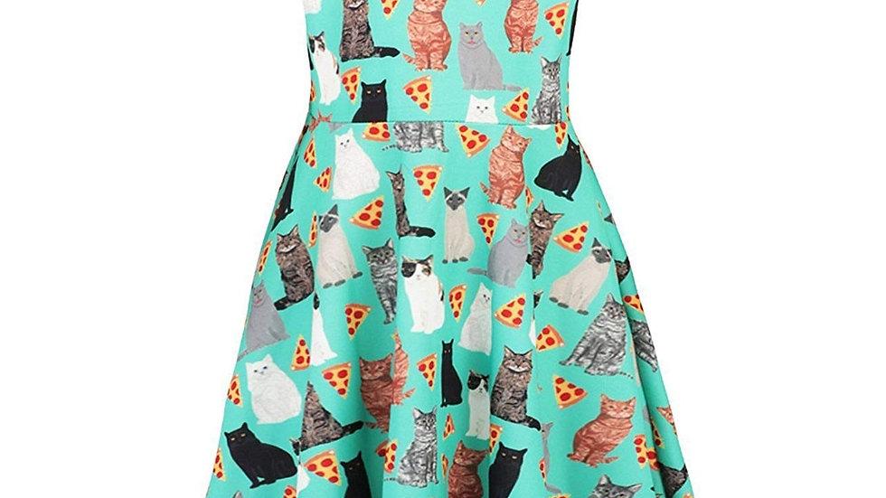 Sleeveless Cartoon Cats Dress
