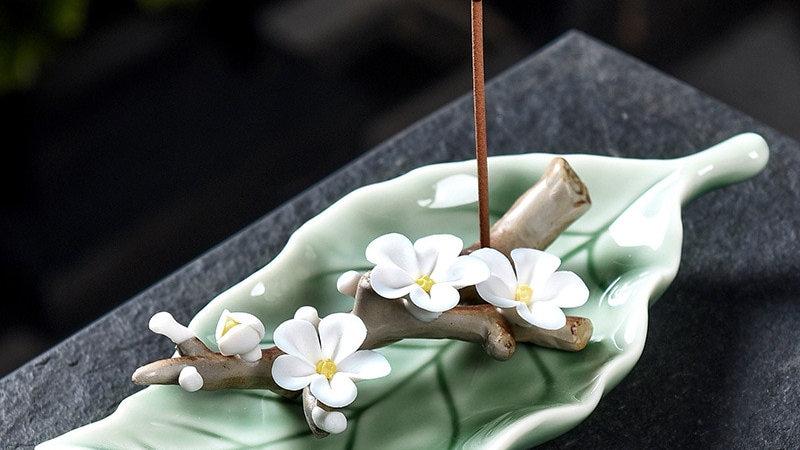 Handcrafted Ceramic Leaves Incense Burner