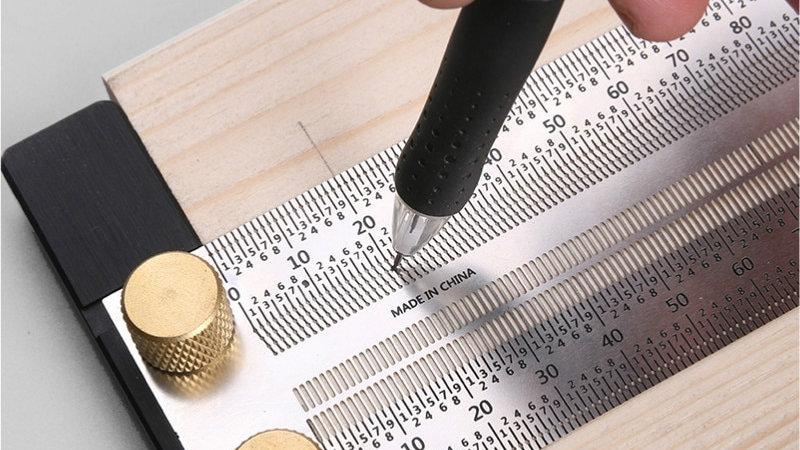 Woodworking Scribe Marking Line Gauge T-Type Ruler