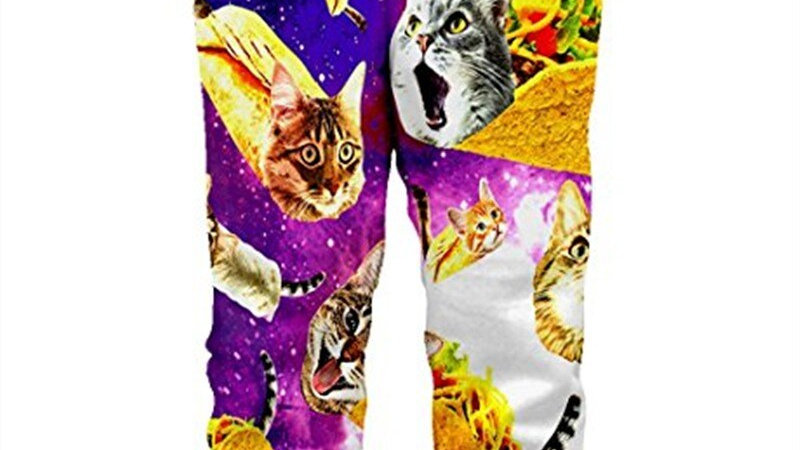Funny Bacon Cat Print Joggers