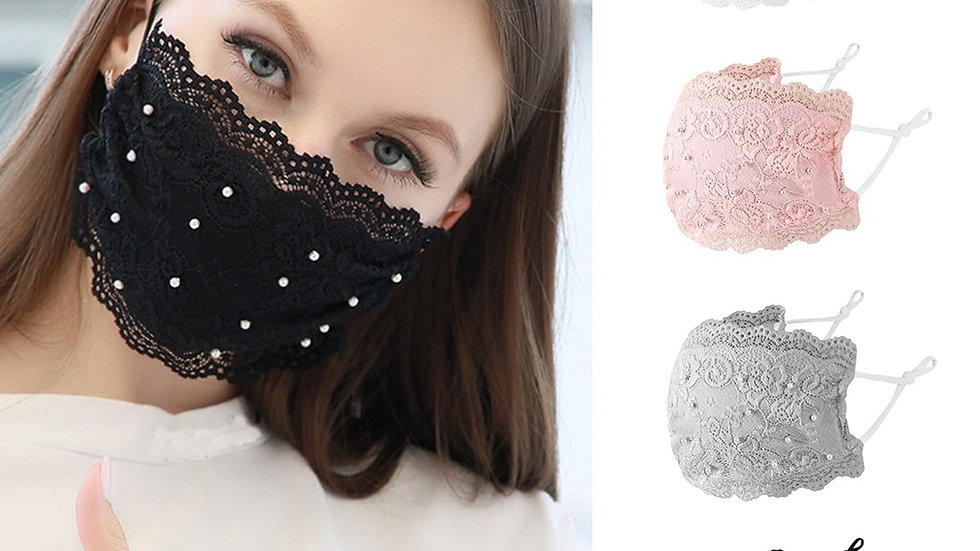 Lace Face Mask with Beading