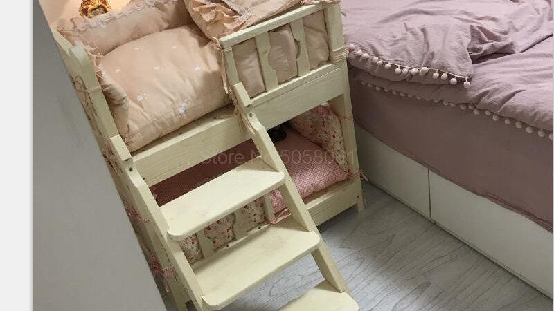 Solid Wood Pet Bunk Bed
