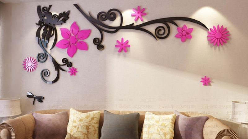 3D Floral Acrylic Wall Stickers