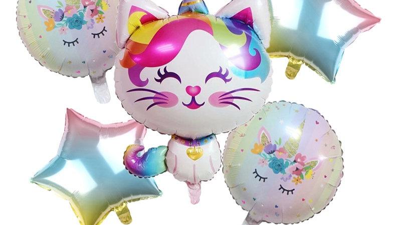 5pcs Rainbow Unicorn Cat Foil Balloons