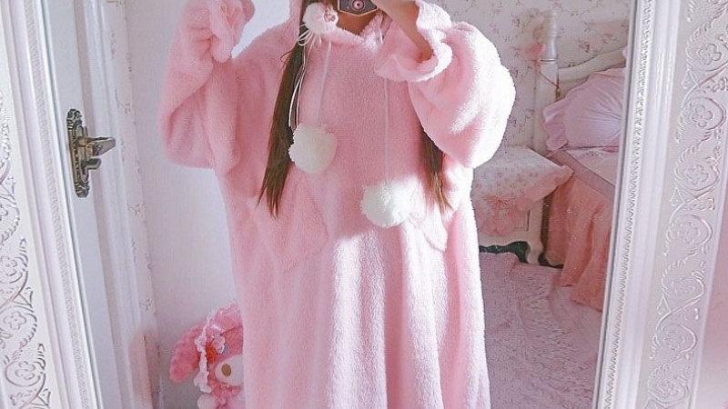 Fleece Cat Ears Pyjama Dress