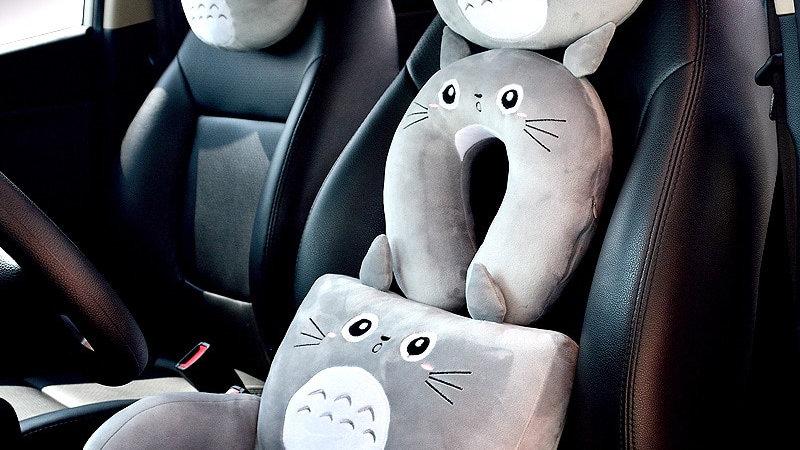Grey Cat Car Pillows
