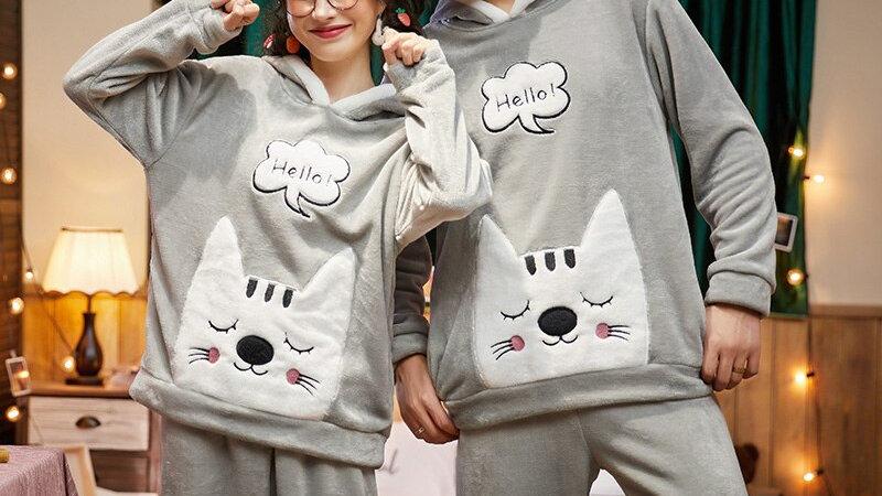 Cat Couple Pyjamas With Hood