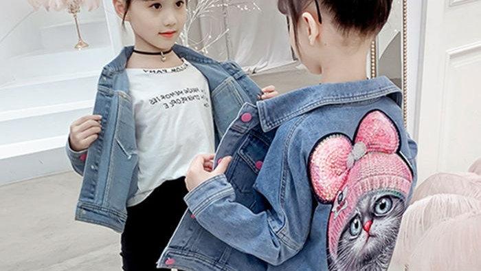 Girls Denim Jacket with Kitty Print