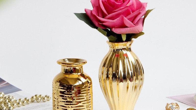 Embossed Golden Vases