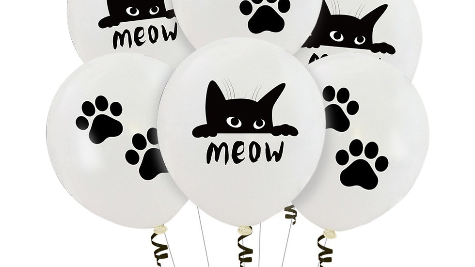 10Pcs Printing MEOW Cat Theme Balloon Set