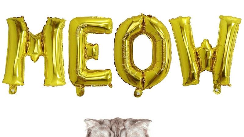 Cartoon Cat Balloon Letter 16'' MEOW Letter Foil Balloon Set