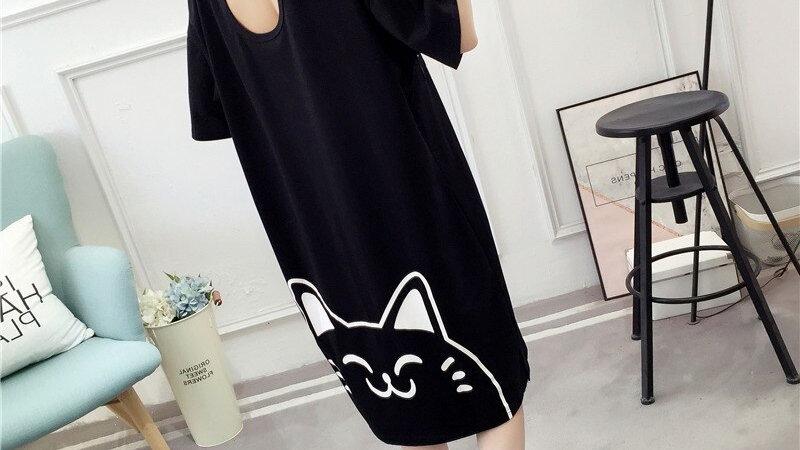 Flowing Cute Cat Print Dress