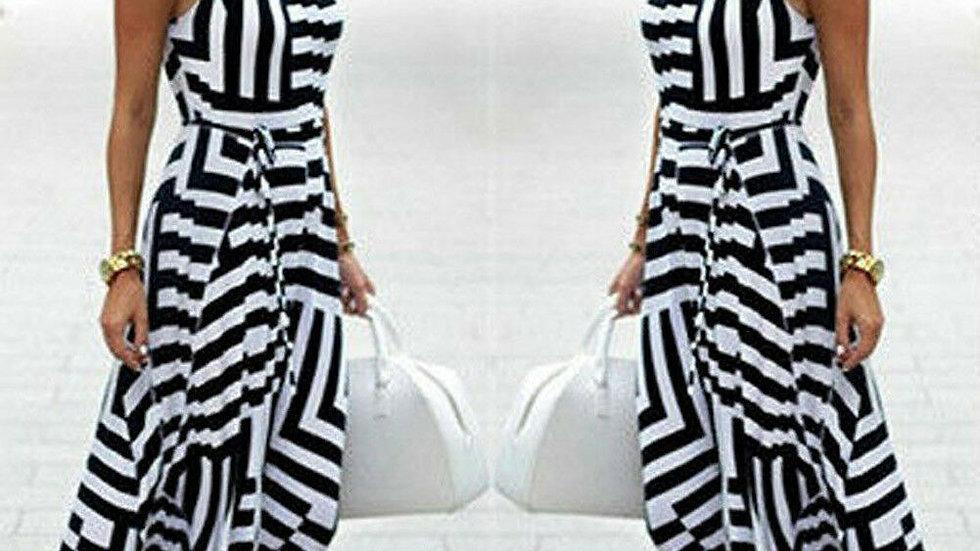 Asymmetric Stripe Sundress