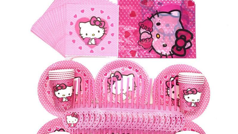 51pcs/81pcs Pink Kitty Party Supplies