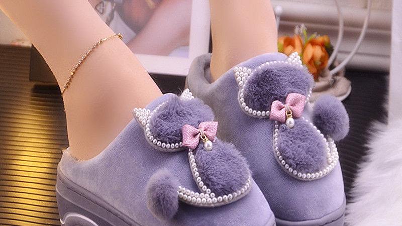 Cute Cat Slippers Ladies Platform Indoor Shoes