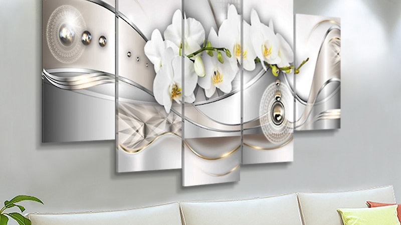 5 Panel Orchid Wall Paintings