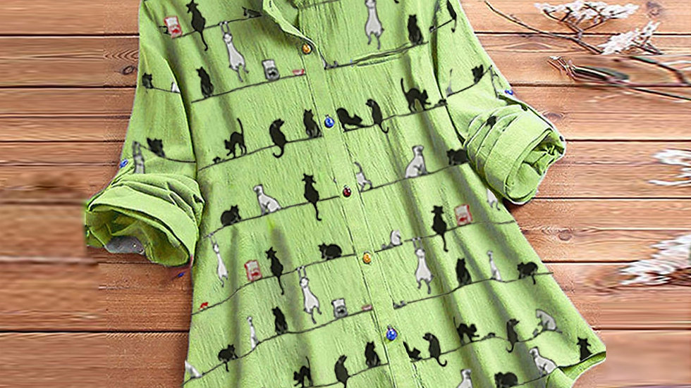 Women's Casual Cat Print Blouse