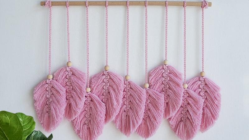Pink Macramé Tapestry Hanging