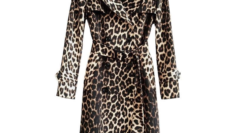 Women's Leopard Trench Coat