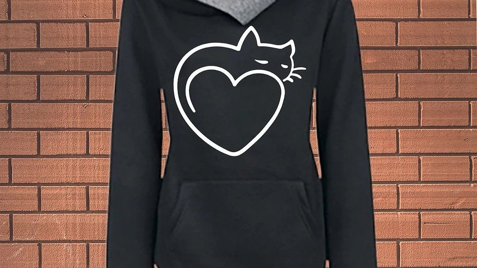 Love Heart Kitten Hoodies