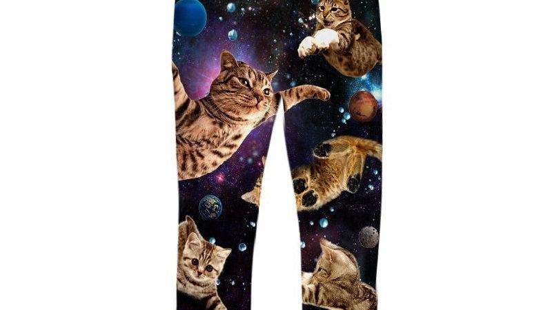 Men's Black Galaxy Cat Joggers