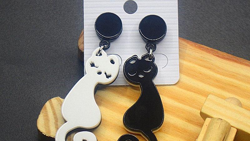 White and Black Cat Earrings