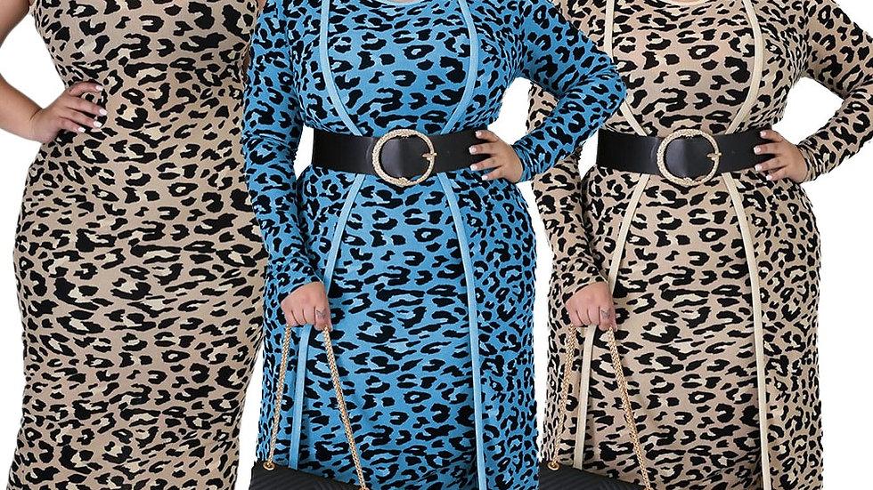 Plus Size XL-4XL Leopard Print Women's Set