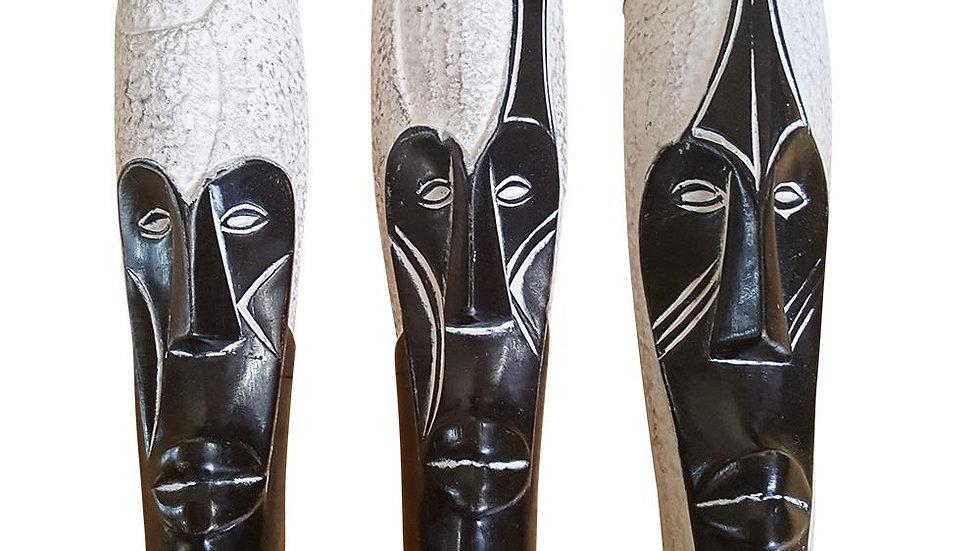 """Set of (3) Masks: 12"""" African Masks"""