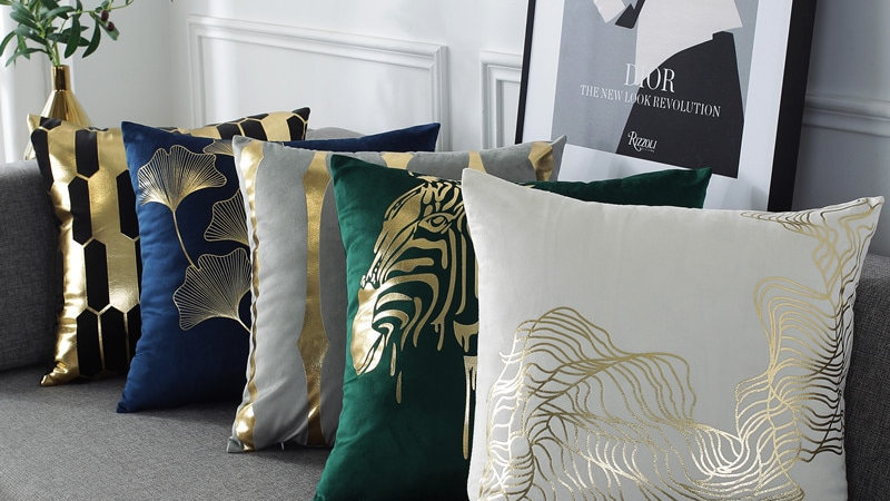 Gold Lined Cushion Covers
