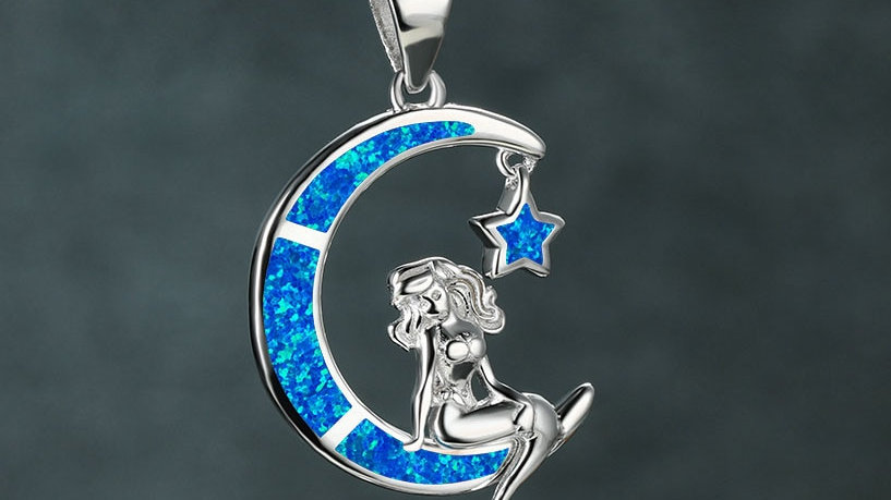 Blue Opal 'Mermaid on the Moon'  Necklace