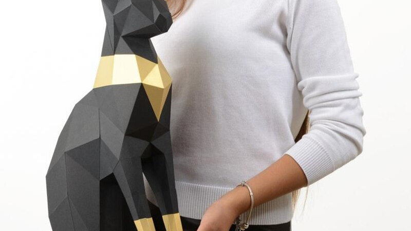 Stylish Black Cat Puzzle Model