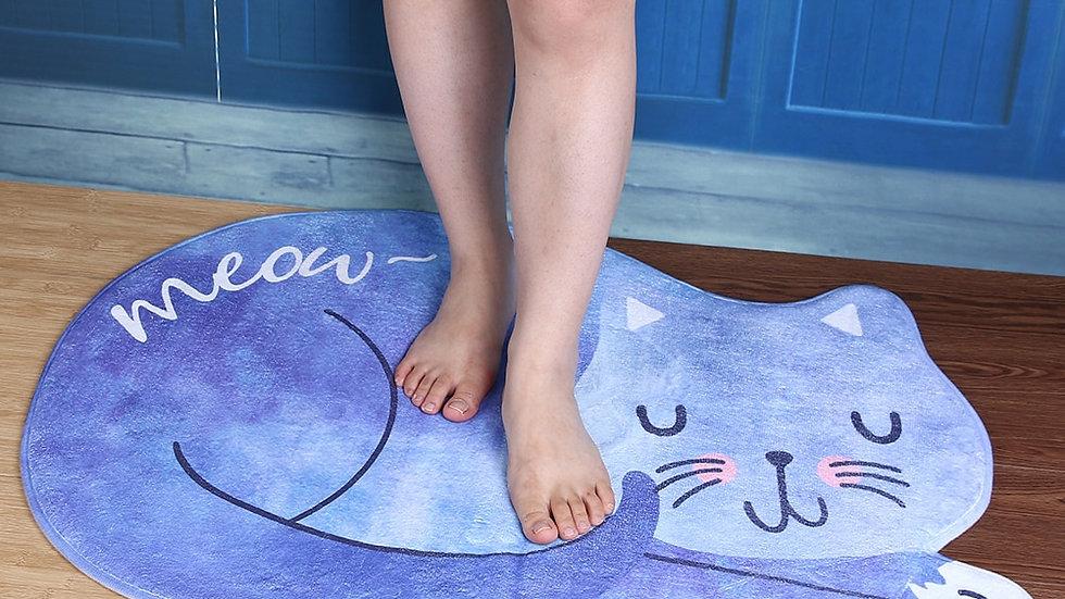 Blue Bathroom Cat Mat