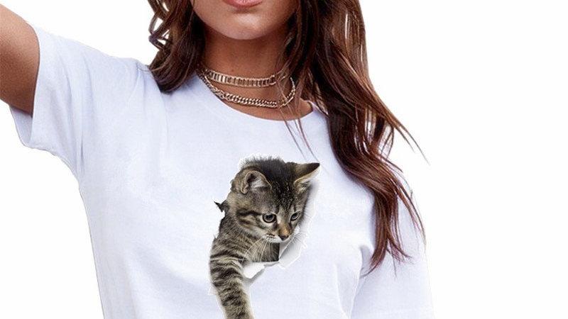 3D Cat Print T-shirt