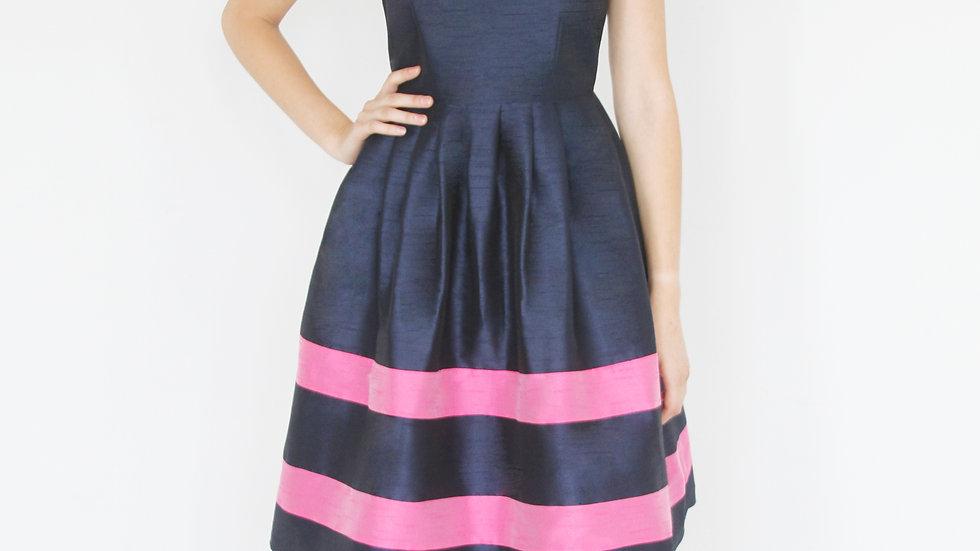 Navy with Pink Belt Dress