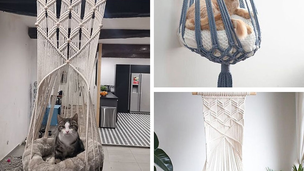 Hand-Woven Hanging Basket for Pets