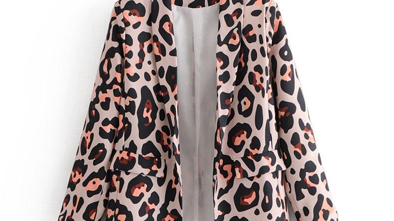 Women's Leopard Pattern Print Blazer