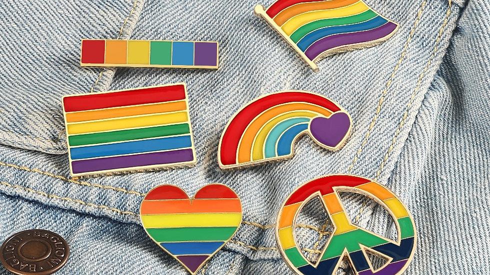 LGBT Rainbow Clothing Pins