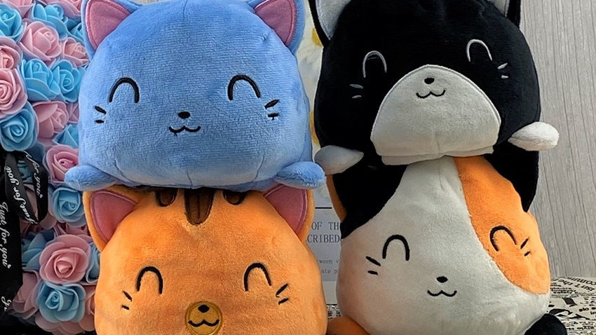 Reversible Plush Kitty Toys