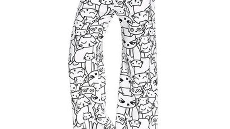 Mid Waist Cat Print Wide Leg Pants